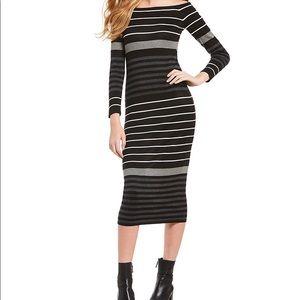 Midi Stripe Off The Shoulder Sweater Dress